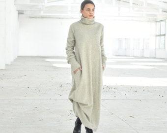 Wool Maxi Dress, Turtleneck Dress, Sweater Maxi Dress, Wool Clothing, Oversize Dress, Plus Size Clothing, Minimalist Dress, Boho Clothing