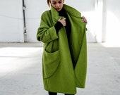 Green Wool Coat, Wool Jacket Coat, Maxi Coat, Wool Poncho, Winter Outerwear, Wool Winter Coat, Chic Jacket, Evening Jacket, Wrap Coat
