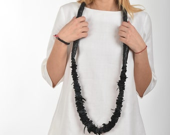 Summer Necklace, Leather Necklace, Women Necklace, Long Necklace, Extravagant Necklace, Black Leather Jewelry, Fashion Necklace,  Women Gift