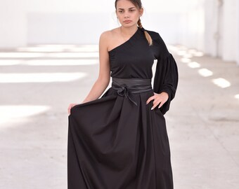 670aaea26114c9 Maxi rok Plus Size kleding zwarte Maxi rok Full Circle rok