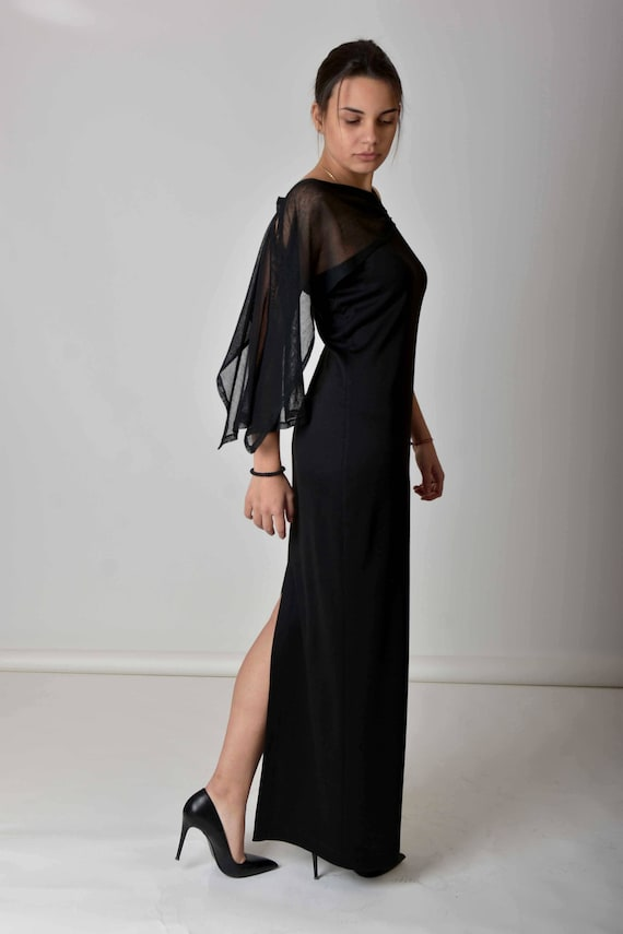 ff23b4bbfe6bc Black Maxi Dress, Gothic Dress, Plus Size Dress, Summer Dress, One Shoulder  Dress, Elegant Dress, Cocktail Dress, Gothic Wedding Dress