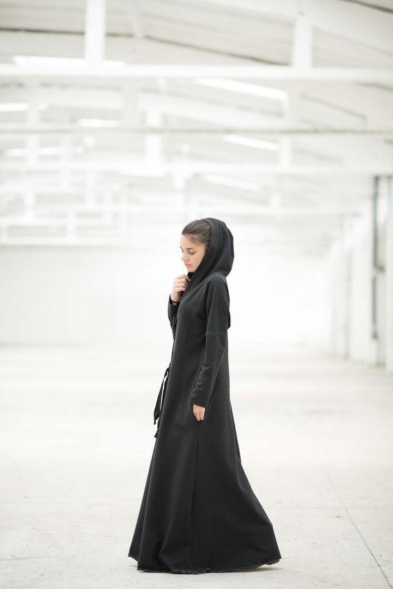 Hooded Dress Black Maxi Dress Gothic Clothing Maxi Dress Etsy
