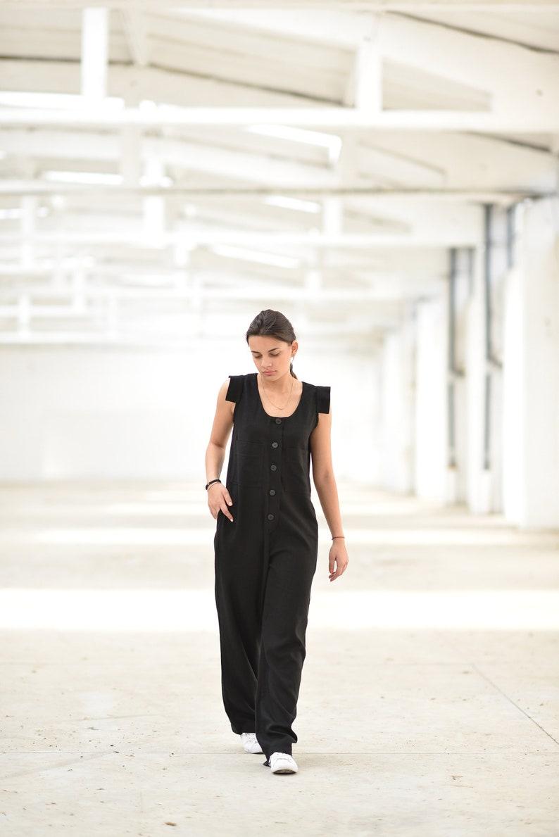 Sleeveless Jumpsuit Plus Size Linen Jumpsuit Women Women Black Overall Plus Size Clothing Linen Clothing Linen Jumpsuit Maxi Long