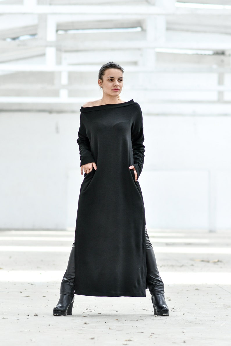064f253a271 Robe noire robe en laine robe longue Tunique robe