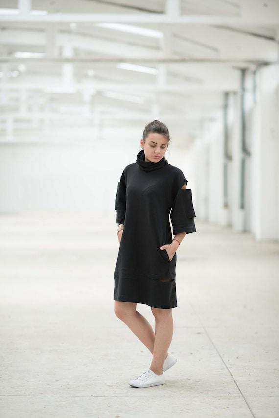 Black Dress, Turtleneck Dress, Dress For Women, Plus Size Clothing, Knee  Length Dress, Black Extravagant Dress, Minimalist Dress,Party Dress