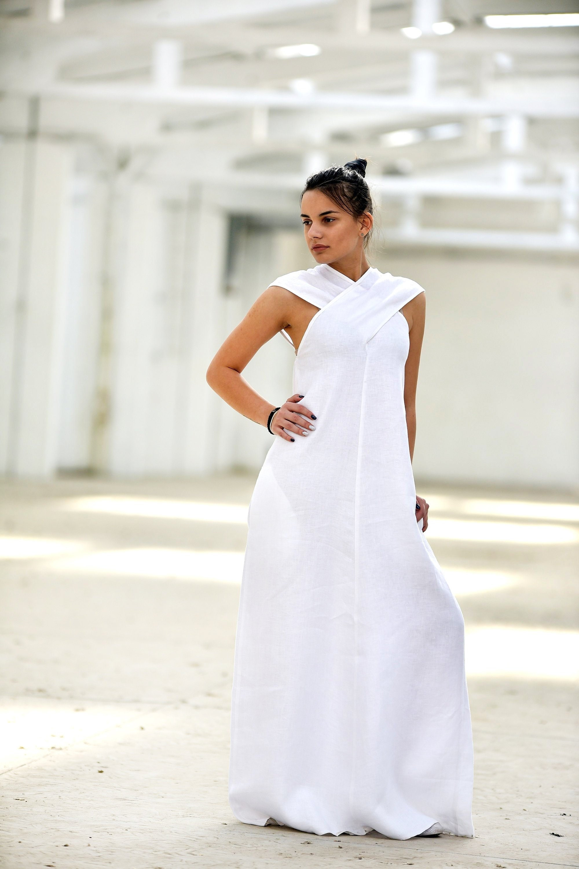 White Linen Dress, White Maxi Dress, Linen Clothes, Plus Size Clothing,  Boho Linen Dress, Boho Wedding Dress, Linen Kaftan,Japanese Clothing