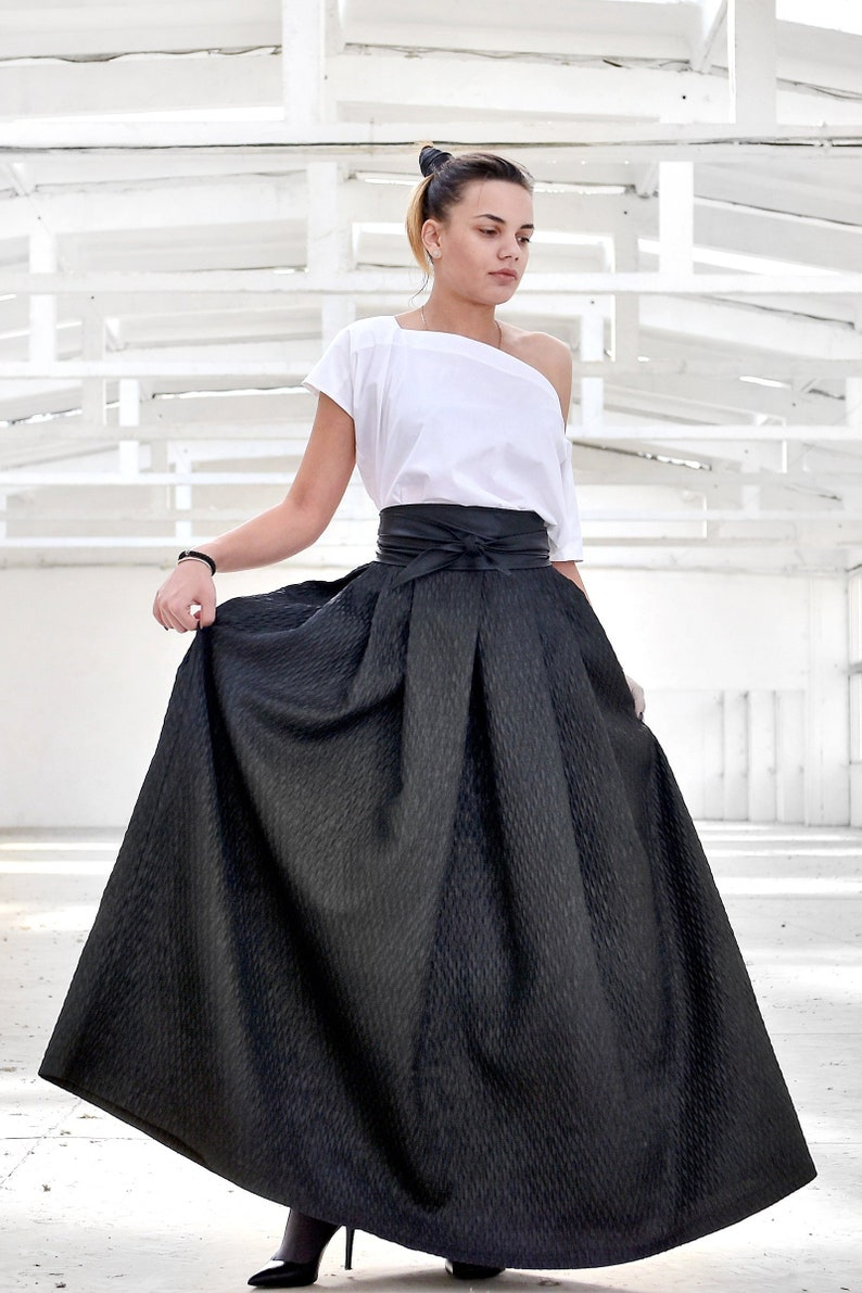 Maxi Skirt Plus Size Clothing Black Maxi Skirt Full Circle | Etsy
