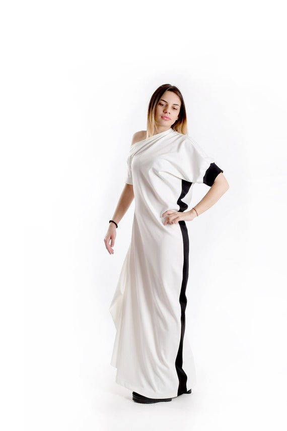 White Kaftan, White Maxi Dress, Plus Size Dress, Casual Dress, White  Caftan, Summer Dress, White Black Dress, Loose Dress, Oversized Dress