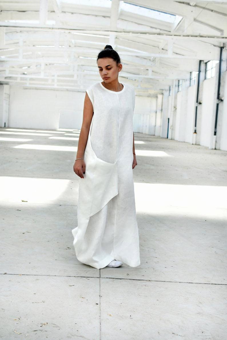 White Linen Dress, Maxi Dress, Linen Summer Dress, Plus Size Clothing,  Loose Dress, Linen Clothing, Oversize Dress, Linen Kaftan Dress