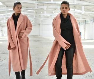 Wool Coat, Winter Coat, Pink Coat, Fleece Coat, Long Coat, Warm Coat, Plus Size Clothing, Pocket Coat, Elegant Coat, Wool Clothing, Loose