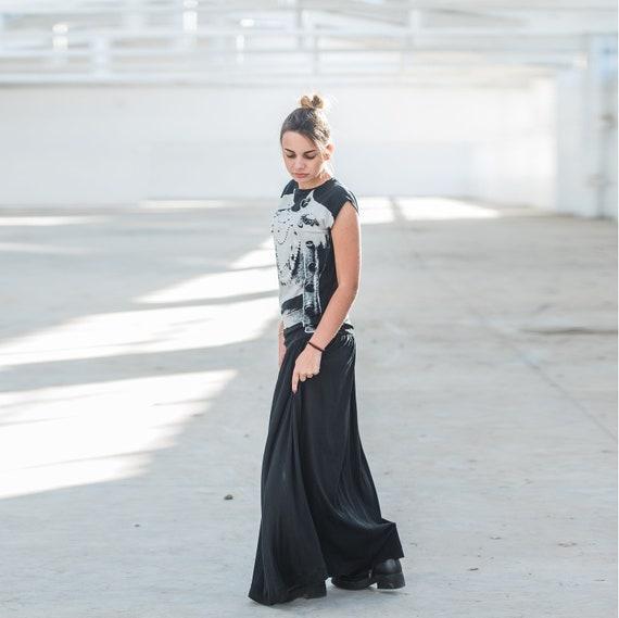 Black Maxi Dress Caftan Dress Steampunk Dress Gothic Dress