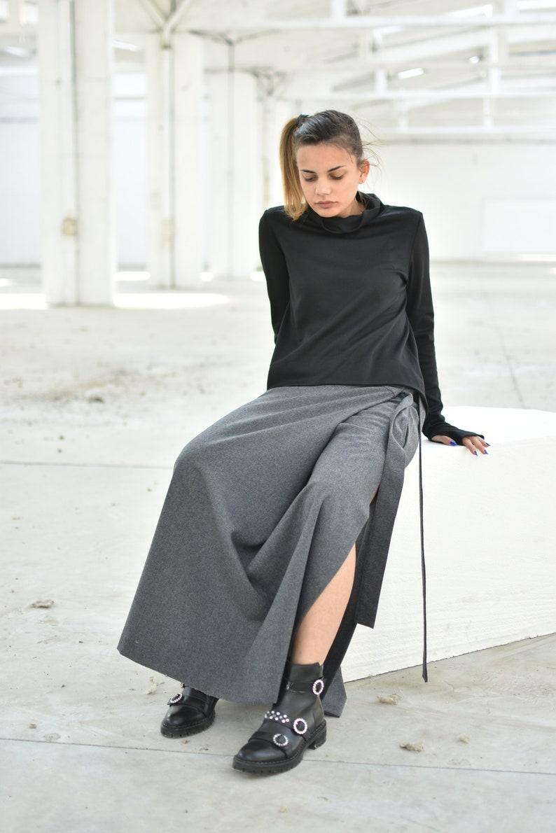 Split Skirt Wool Clothing Women Wool Skirt Loose Skirt Plus Size Cashmere Skirt Wrap Skirt Long Skirt Gray Wool Skirt Maxi Skirt