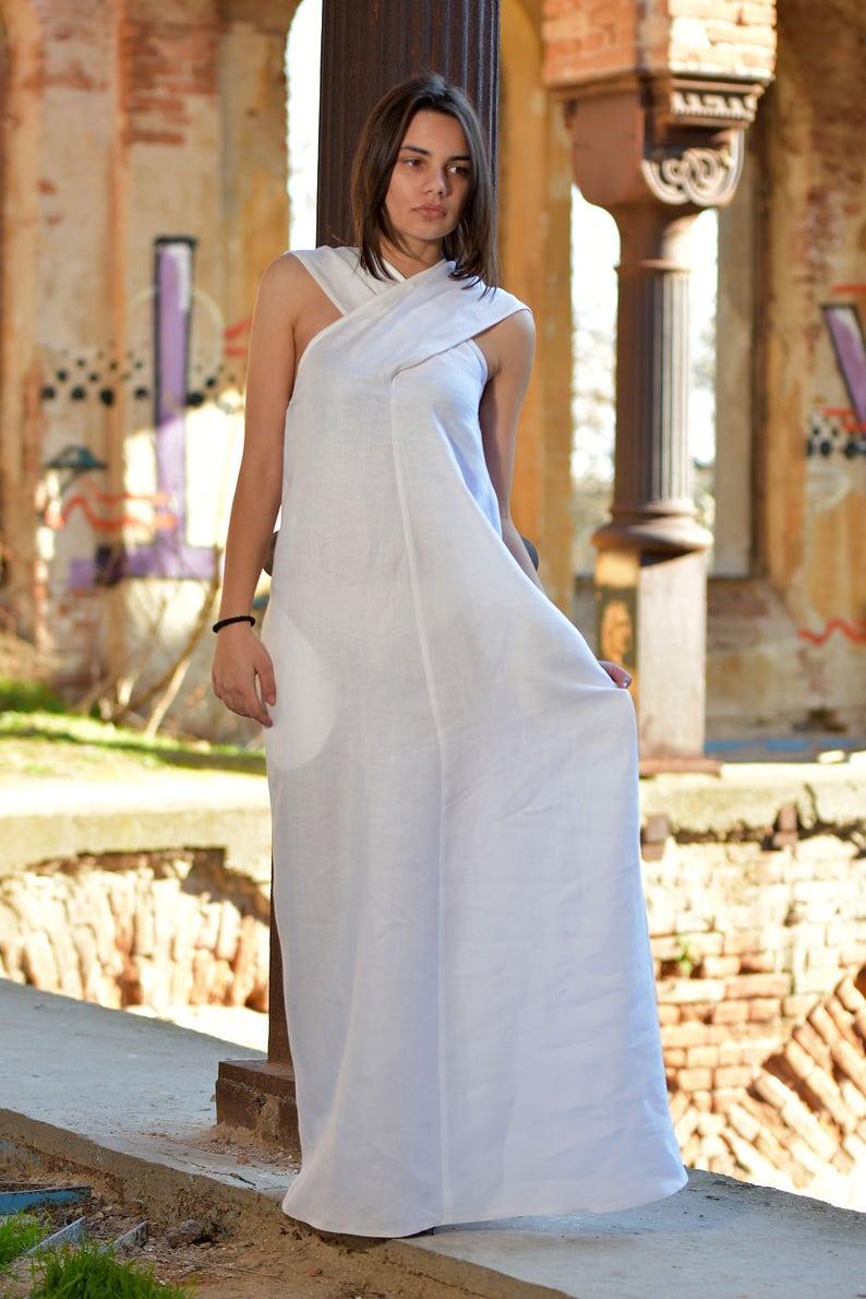 White Linen Dress, Linen Clothing, Linen Maxi Dress, Plus Size Linen Dress,  Linen Wedding Dress, Long Linen Dress, White Summer Dress