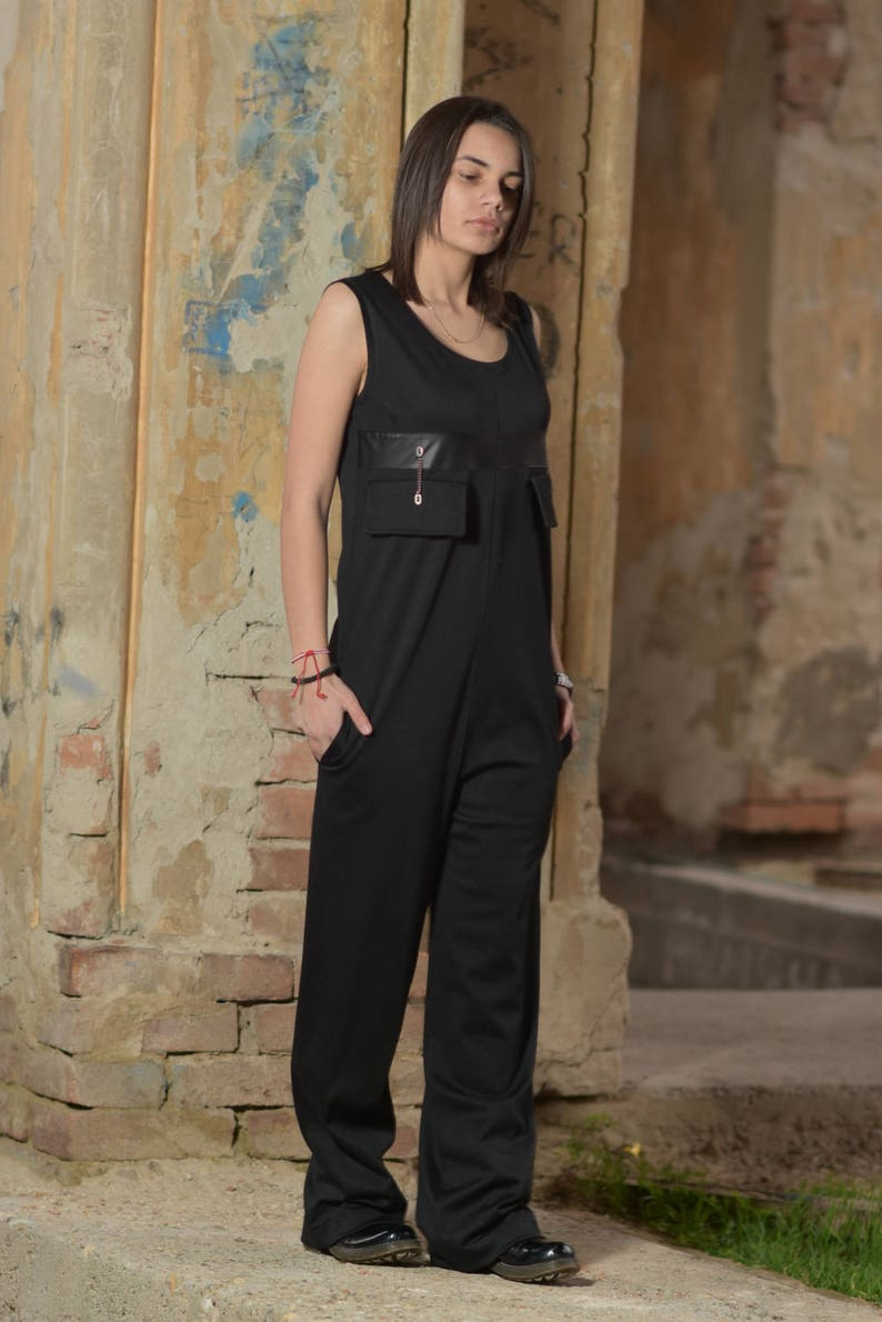 Plus Size Overall Black Jumpsuit Harem Jumpsuit Black Overall Sleeveless Jumpsuit Loose Jumpsuit Plus Size Romper Women Overall