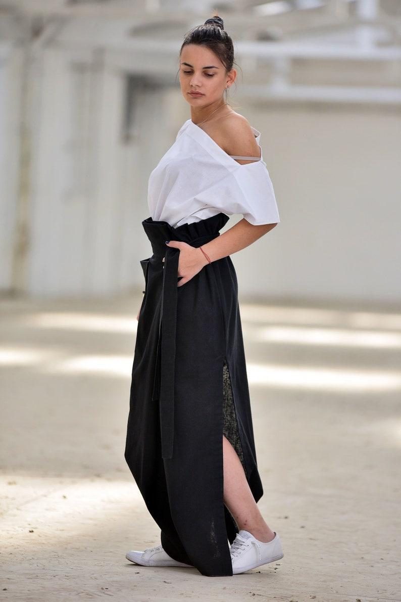 14048423954 Linen Skirt Black Linen Skirt Linen Clothing Plus Size