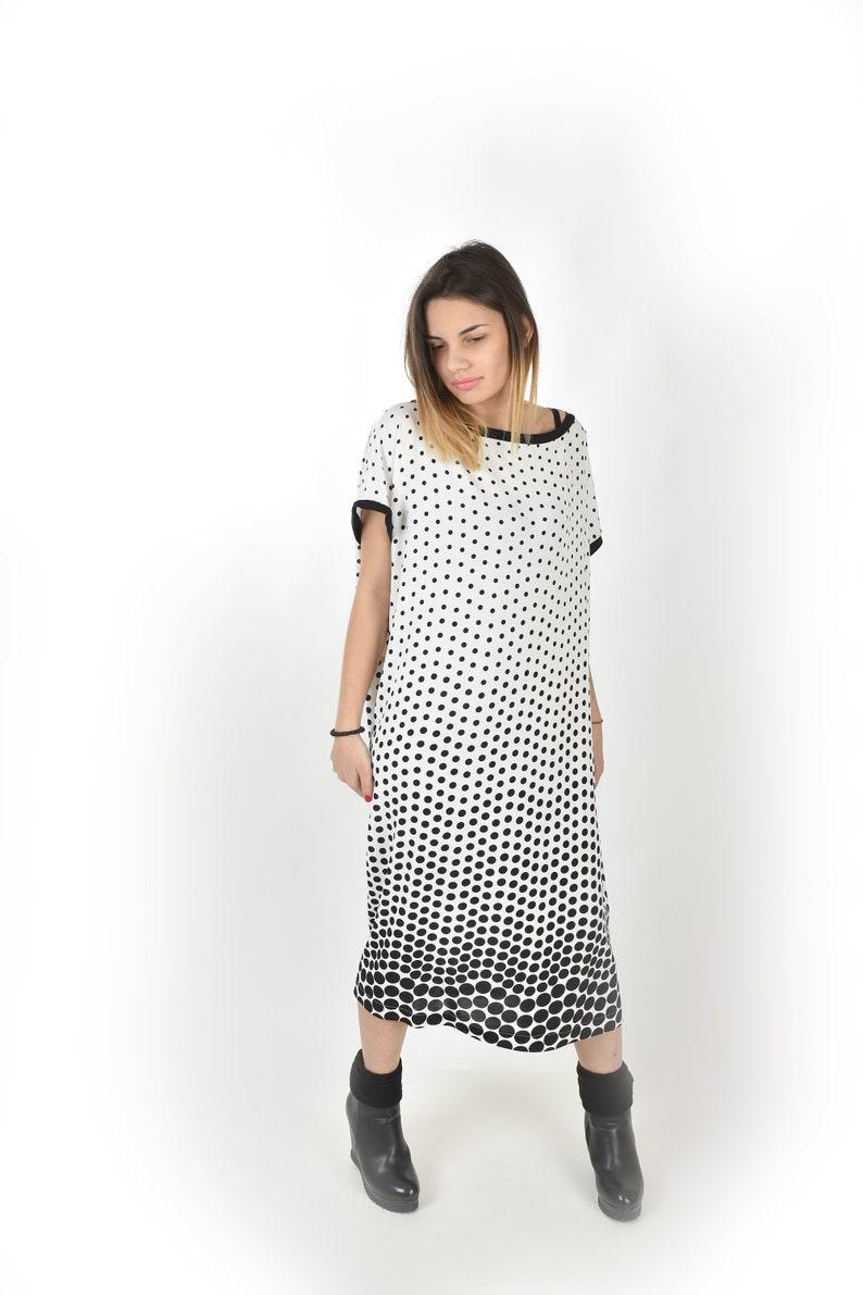 Black And White Polka Dot Maxi Dress Plus Size – DACC