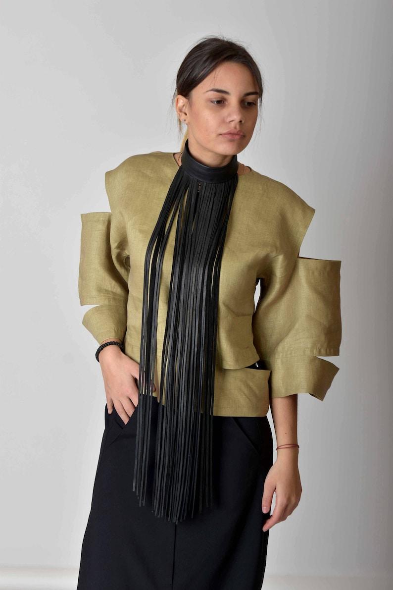 8e1bc4be64b Linen Top Avant Garde Clothing Women Linen Blouse Plus Size