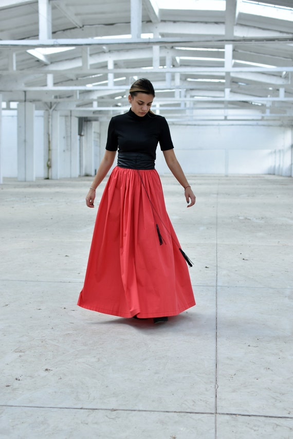 Maxi Skirt, Coral Skirt, Women Skirt, Long Summer Skirt, High Waisted Skirt, Plus Size Skirt, Elegant Skirt, Cotton Skirt, Oversize Skirt
