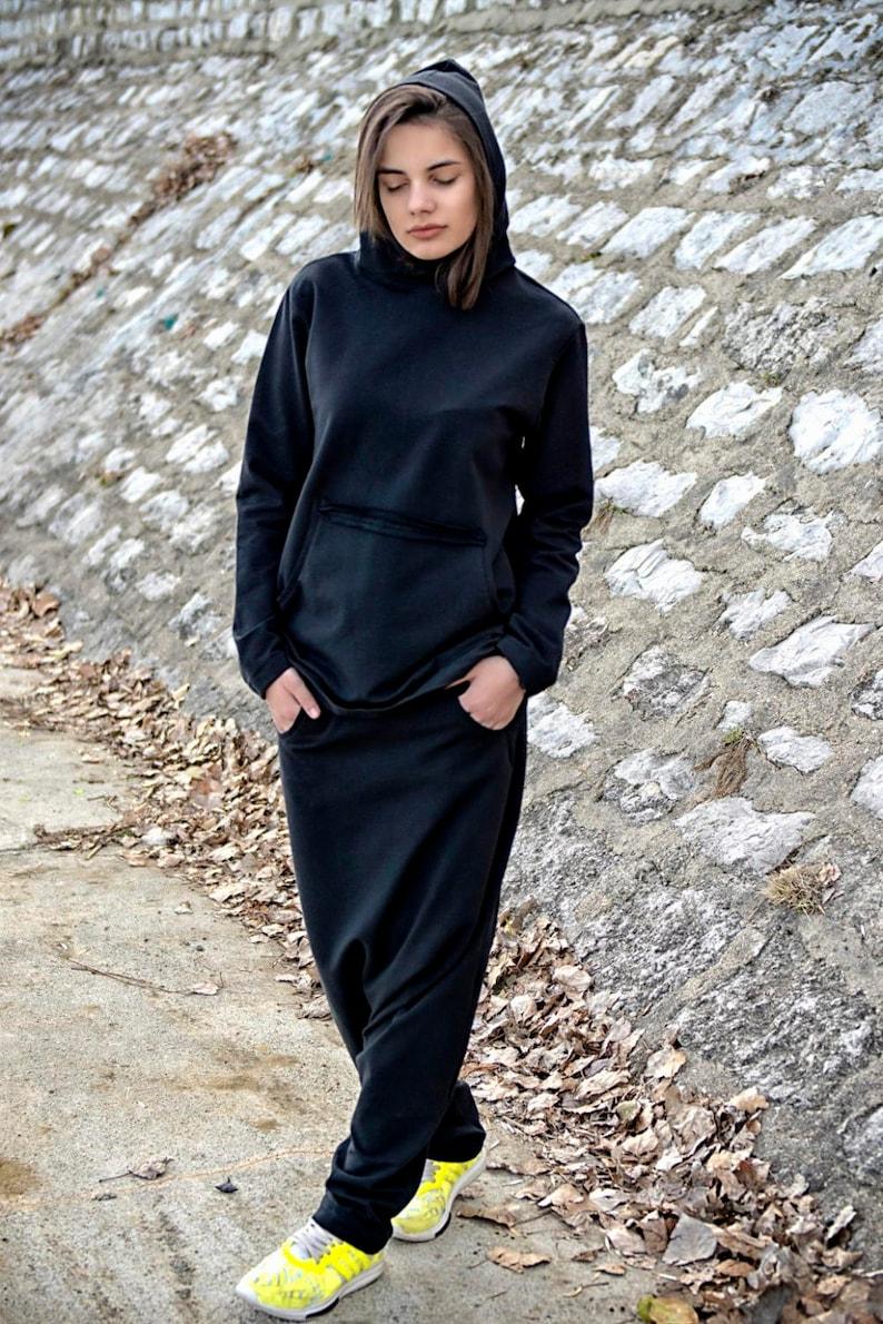 f1e24b4d319 Black Suit Womens Set Black Harem Pants Hooded Top Black