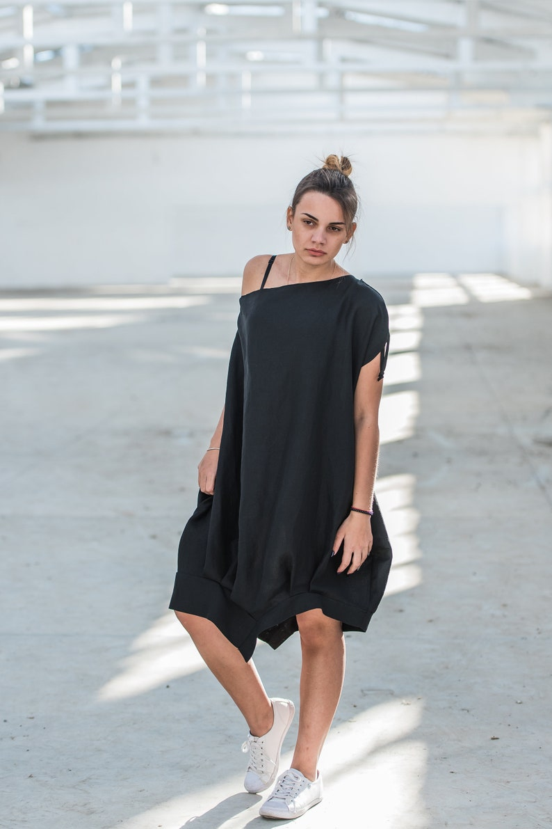 d947a40d238f4 Linen Dress, Off Shoulder Dress, Black Dress, Cocktail Dress, Bubble Dress,  Summer Linen Dress, Midi Dress, Plus Size Clothing, Linen Wear
