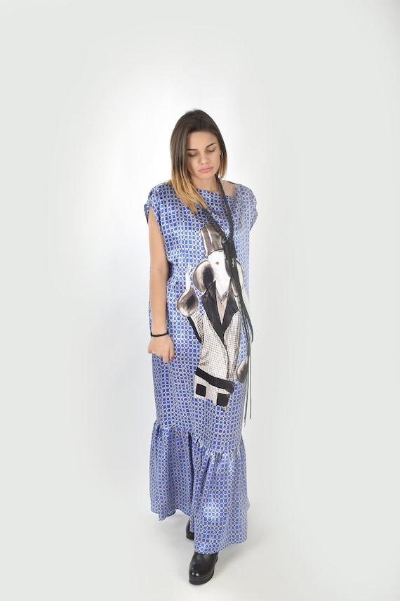 Blue Maxi Dress Silk Dress Plus Size Dress Long Dress Etsy