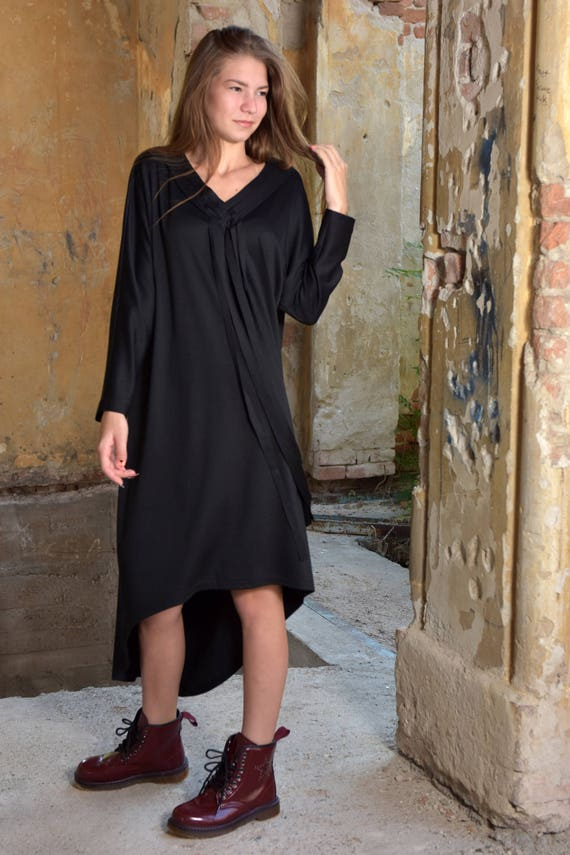 Plus Size Dress, Kaftan Dress, Fringe Dress, Black Maxi Dress, Plus Size  Maxi Dress, Black Caftan Dress, Asymmetric Dress, Japanese Clothing