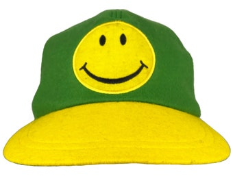 c87dc52c96e MOSCHINO Cheap and Chic Vintage Felt Smiley Face logo Hat Baseball Trucker  Cap Green and Yellow