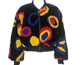 318acd43292 MOSCHINO Vintage Peace   Love Logo Faux Fur Bomber Jacket Moschino Jeans  Crop