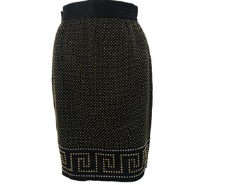 GIANNI VERSACE Rare Vintage Black Studded Key Skirt sz IT 38 1990s High Waist Mini A-line Gold Silver Lifetime Versace piece