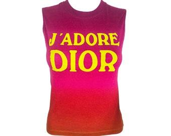 90fd978e12a1b CHRISTIAN DIOR Vintage Pink Ombre J adore Dior Logo Print Tank Top sz FR 38  singlet monogram tee t-shirt
