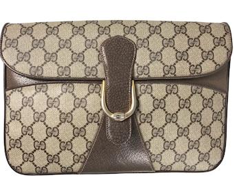 2424157cb GUCCI Vintage Logo Monogram Clutch Bag Canvas Purse Evening Handbag