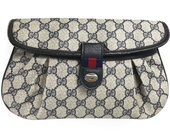 edaa0358c GUCCI Vintage 1980s Navy Logo Clutch Bag Monogram Navy Canvas Purse Evening  Handbag