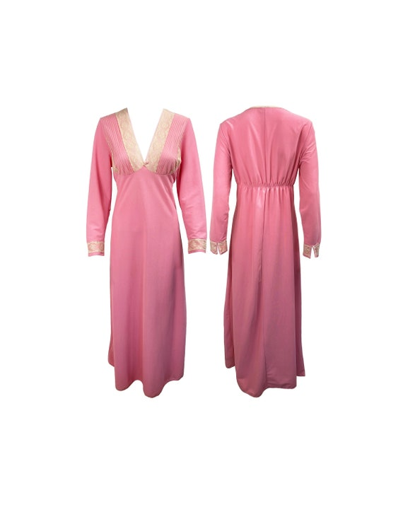 NORMAN HARTNELL Vintage 1970s Pink Lace Trim Maxi