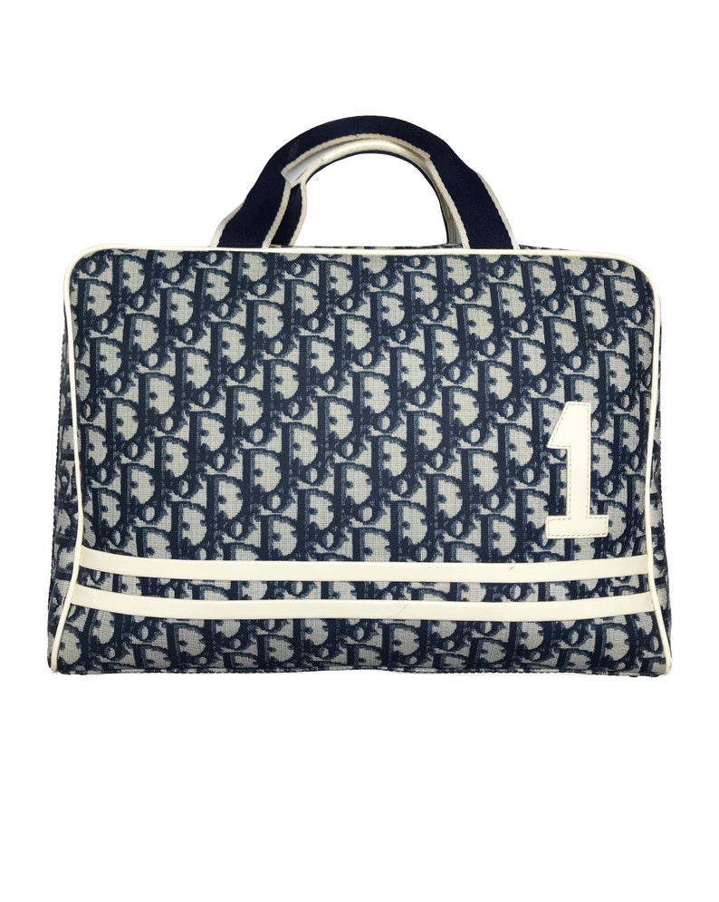 8af1bb64dc13 CHRISTIAN DIOR Vintage Navy Logo Monogram Laptop Tote Bag