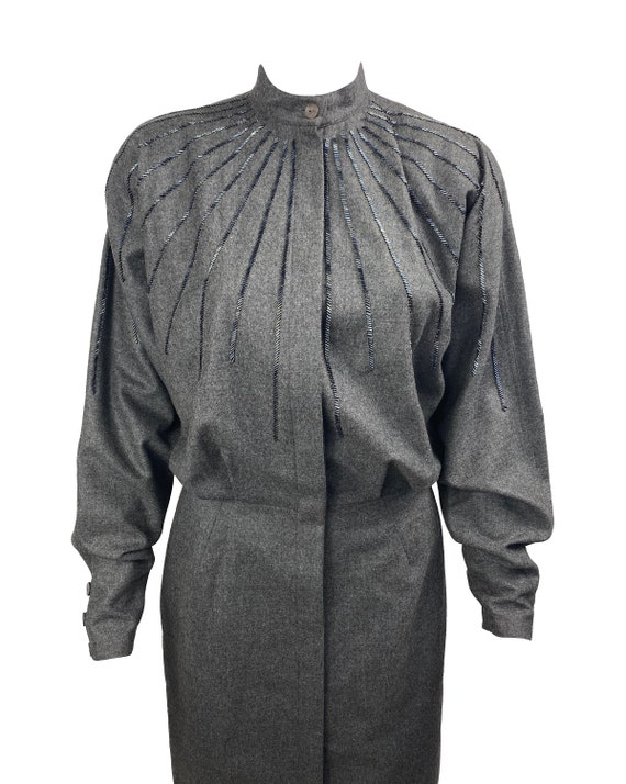 GUCCI 1970s Batwing Dress Beaded Duster Jacket - image 7