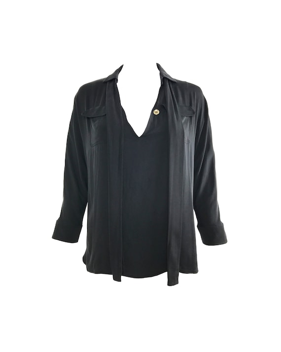 GUCCI Vintage Black Silk Pussy-Bow Neck Tie Blouse