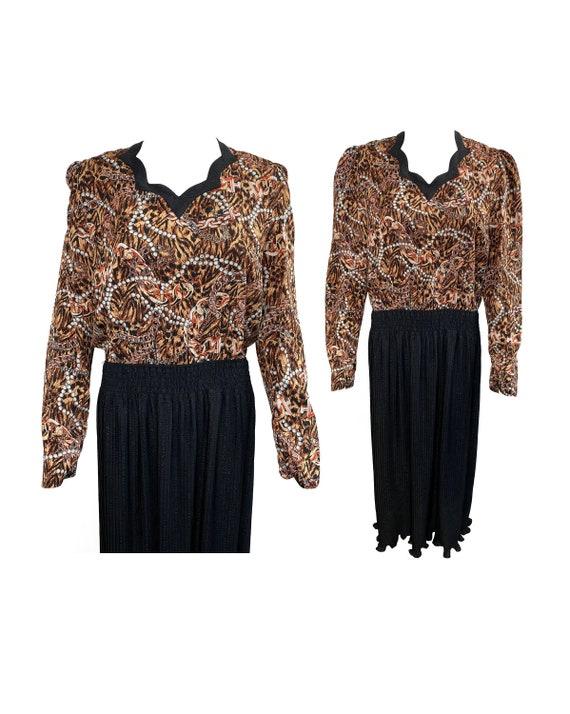 DIANE FREIS Vintage 1980s Leopard Print Dress