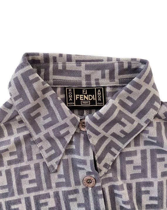 FENDI Vintage Zucca Print Shirt Mesh Monogram Pri… - image 4