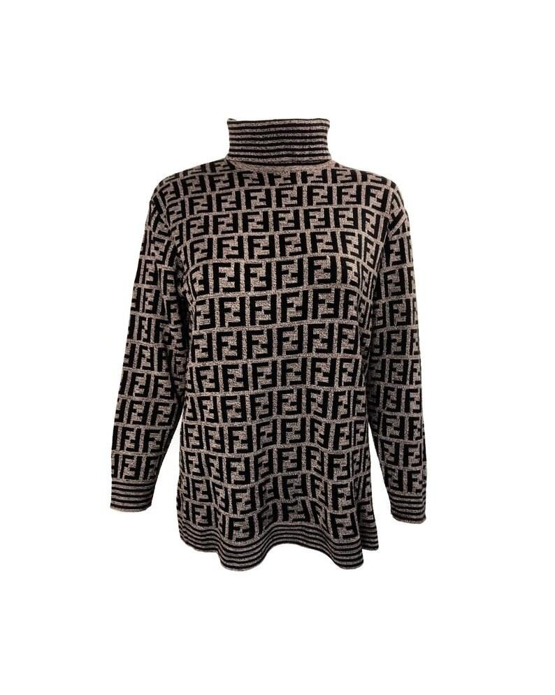 52ae01709c621d FENDI Vintage Zucca Knit Turtleneck Sweater FF Monogram Logo | Etsy