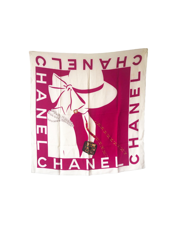 e6eeaac490e6f CHANEL Vintage 80s Logo Gripoix Jewelry Print Silk Scarf