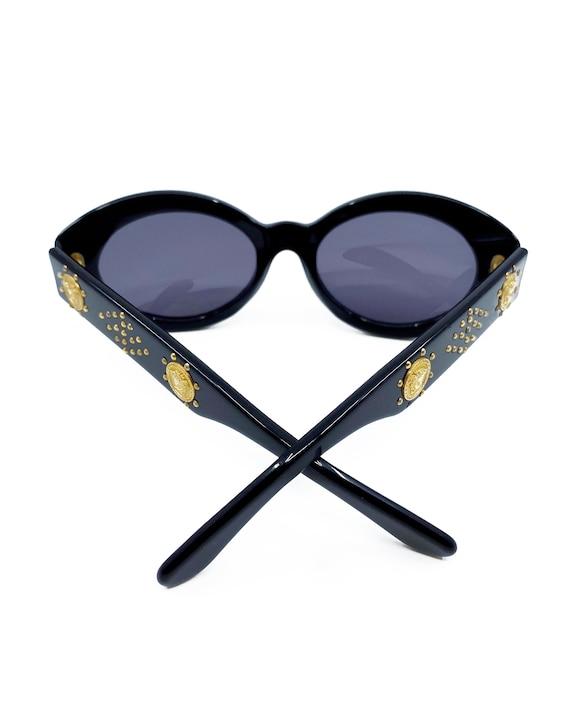 GIANNI VERSACE 1990s Black Studded Sunglasses ova… - image 6