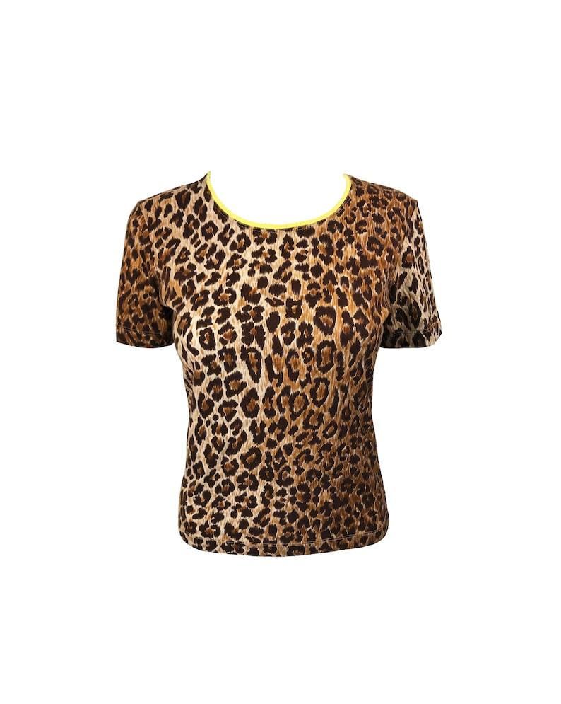 69da6206947f0 DOLCE   GABBANA Vintage Leopard Print Logo Print T-Shirt 1990s