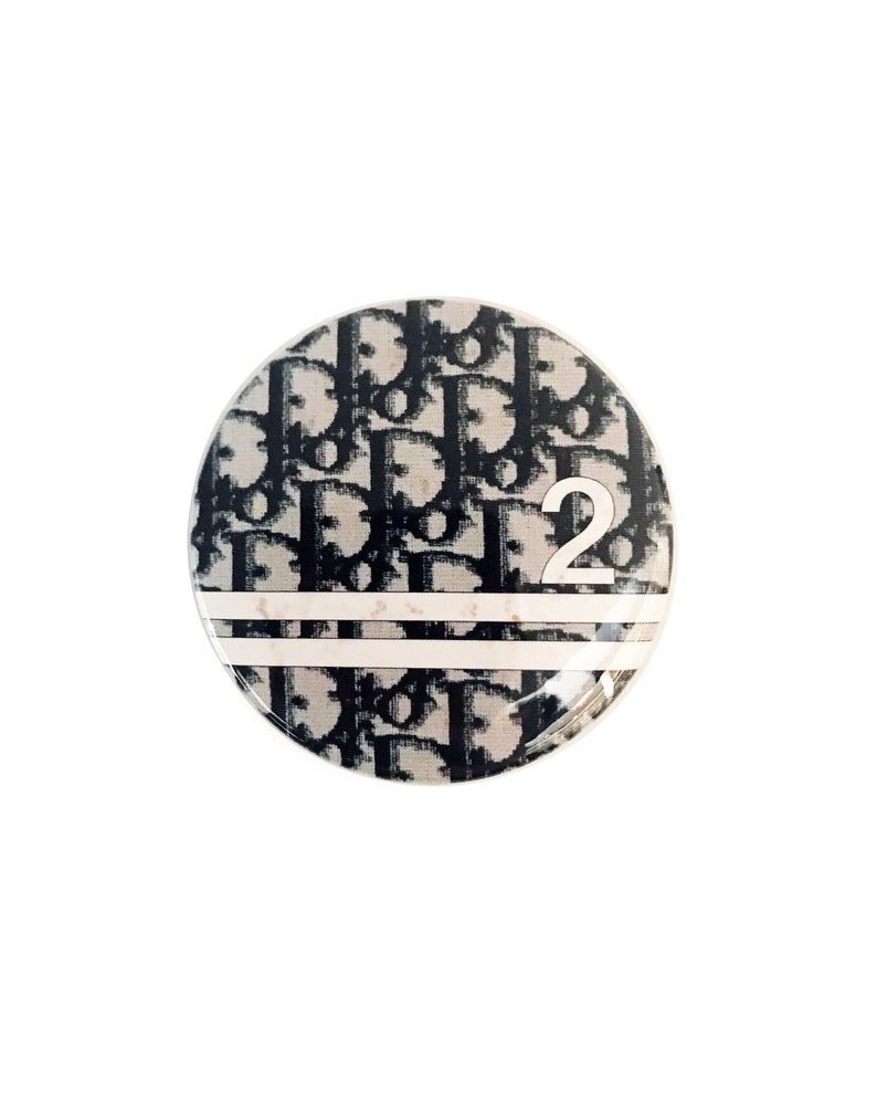 815783389b47 CHRISTIAN DIOR Vintage Black Logo Monogram Brooch Badge Pin