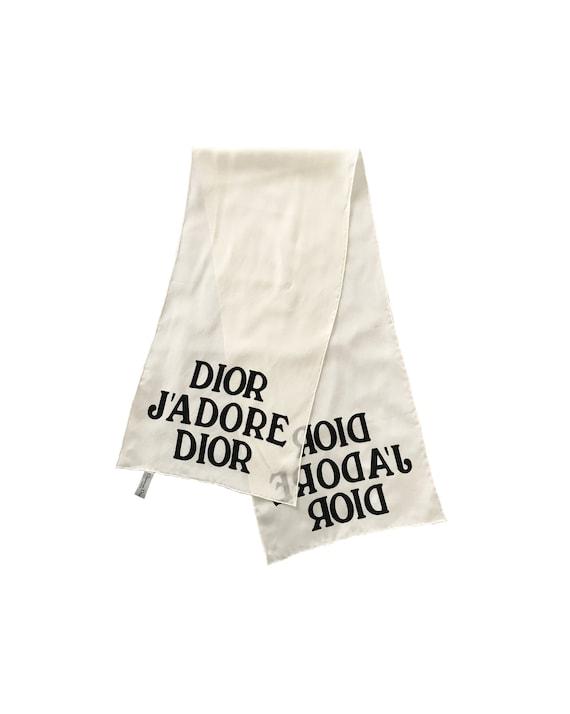 0333c1e9392c9 CHRISTIAN DIOR Vintage J adore Dior Scarf Logo Print Silk