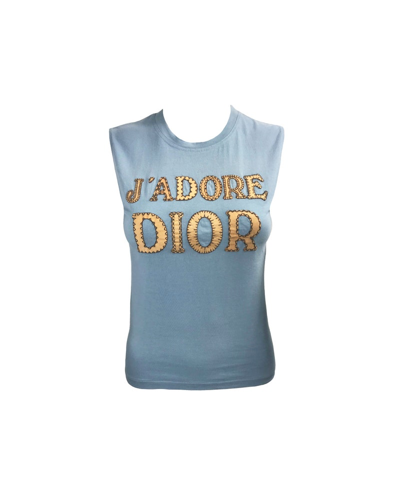 c5ea742eb8306 CHRISTIAN DIOR Vintage Blue J adore Dior Logo Top Stitched