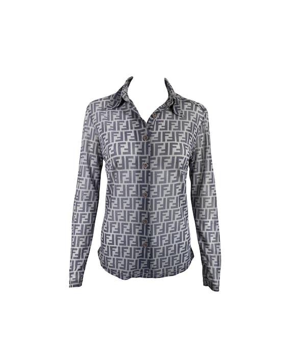 FENDI Vintage Zucca Print Shirt Mesh Monogram Prin