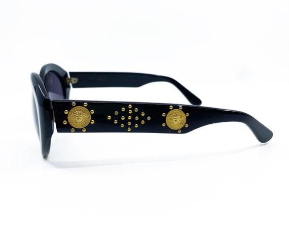 GIANNI VERSACE 1990s Black Studded Sunglasses ova… - image 3