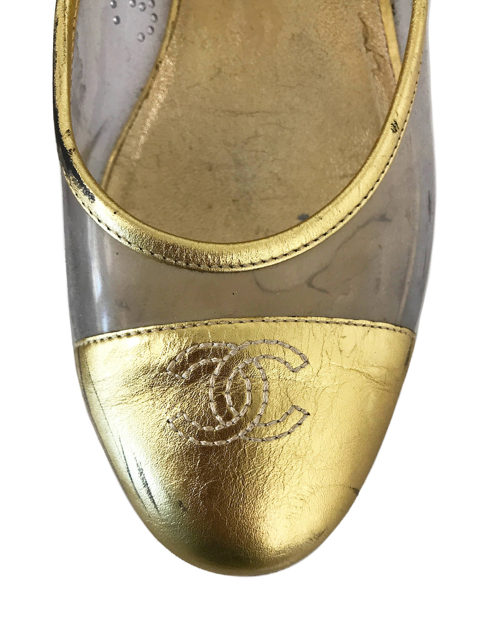 chanel vintage gold clear ballet flats perspex slipper sz 38.5 shoes