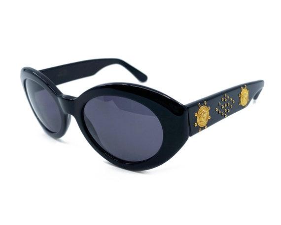 GIANNI VERSACE 1990s Black Studded Sunglasses ova… - image 1