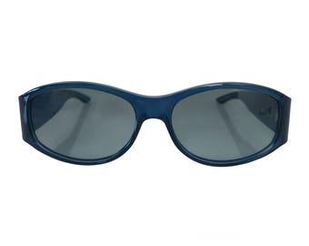 CHRISTIAN DIOR Vintage 1990s Small Blue Oval Translucent Sunglasses with Monogram Logo